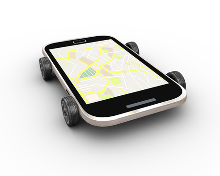 3d rendering of modern smart mobile phone on wheels with gps map
