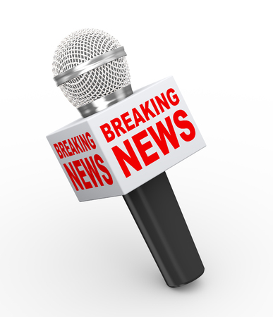 3d rendering of microphone with box word breaking news