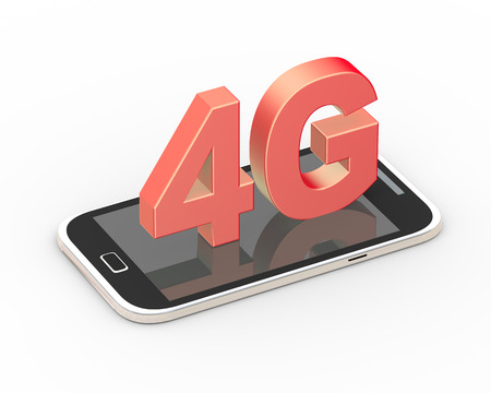 3d rendering of mobile telecommunication cellular high speed data connection concept 4G LTE wireless communication technology with smartphone Stock Photo