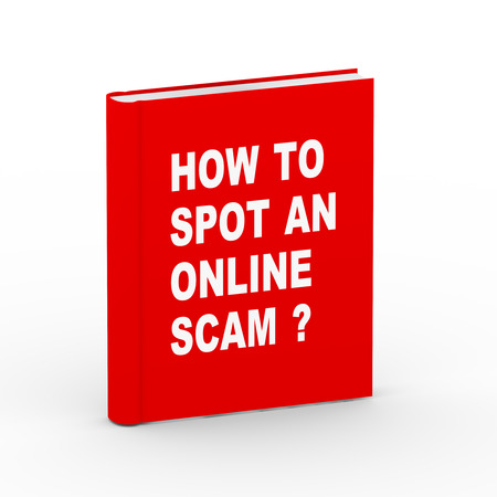 3d rendering of book teaching how to spot an online scammer