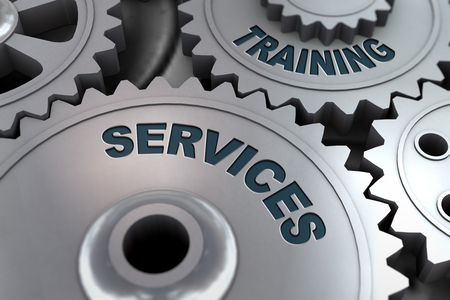 3d rendering of metal cogwheel gears concept of Training Services