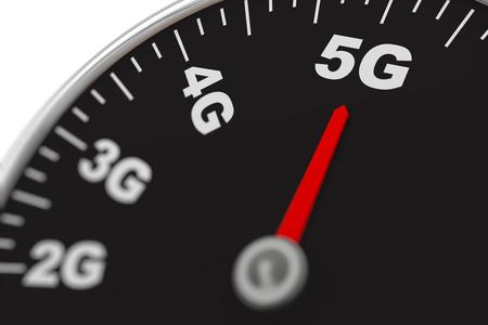 3d rendering of maximum 5G speed dial meter communication technology