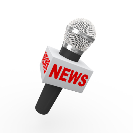 3d rendering of microphone with box word news
