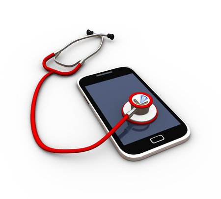 3d rendering of mobile and stethoscope