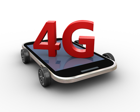 3d rendering of modern 4g smart mobile phone on wheels Stok Fotoğraf