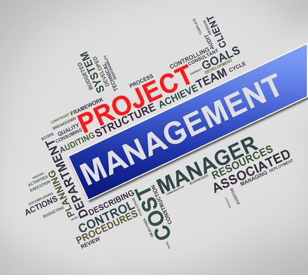 Illustration of word cloud tags related to project management