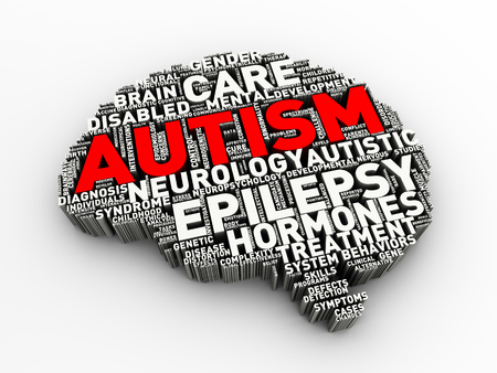3d rendering of brain shape word cloud tags of autism awareness