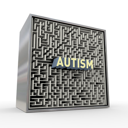 3d rendering of red word text autism inside puzzle maze labyrinth box Stok Fotoğraf