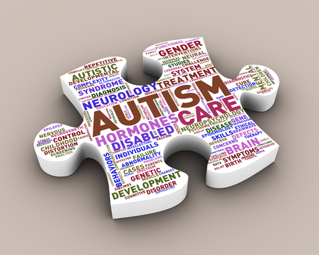 3d rendering of puzzle shape piece word cloud tag of autism concept