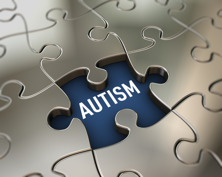 3d rendering of assemble shiny puzzle pieces presentation of word text autism