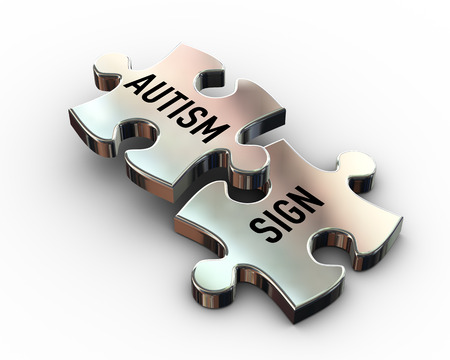 3d rendering of puzzle pieces having word text autism and sign Stok Fotoğraf