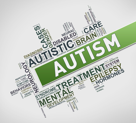 Illustration of word cloud tags of autism awareness