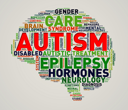 Illustration of custom brain shape word cloud tags of autism awareness