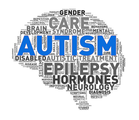 Illustration of custom shape brain word cloud tags of autism awareness