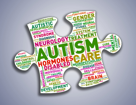 Illustration of custom shape puzzle piece word cloud tags of autism awareness Stok Fotoğraf