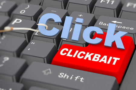 3d rendering of word click and hook on computer keyboard. Concept of clickbait Stok Fotoğraf