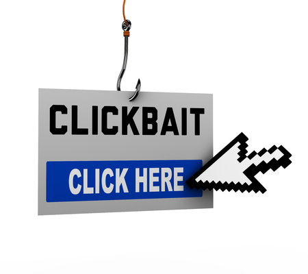 3d rendering of mouse pointer and fishing hook with clickbait click here note