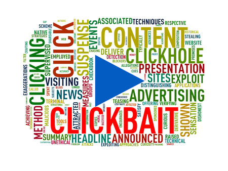 Illustration of custom play button tag word cloud of clickbait Stok Fotoğraf