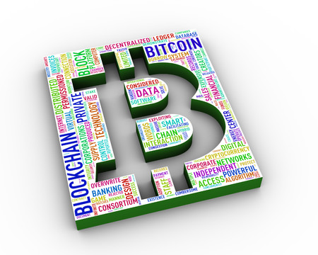 3d rendering of bitcoin symbol icon cut out word tag cloud Stok Fotoğraf