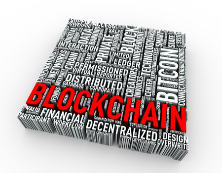 3d rendering of blockchain bitcoin word cloud tag  Stok Fotoğraf