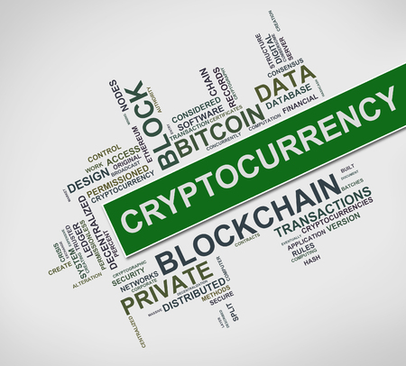 Illustration of Cryptocurrency word cloud tags
