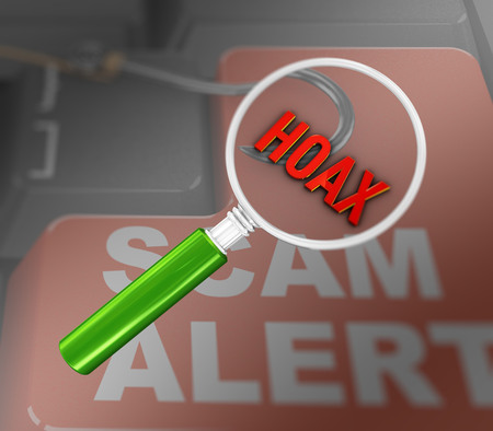 3d render of magnifying glass over word hoax on scam alert keyboard background