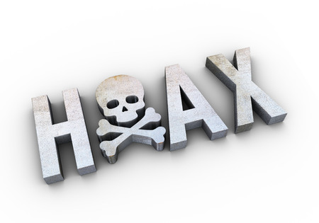 3d render of grunge texture word hoax with skull head inside