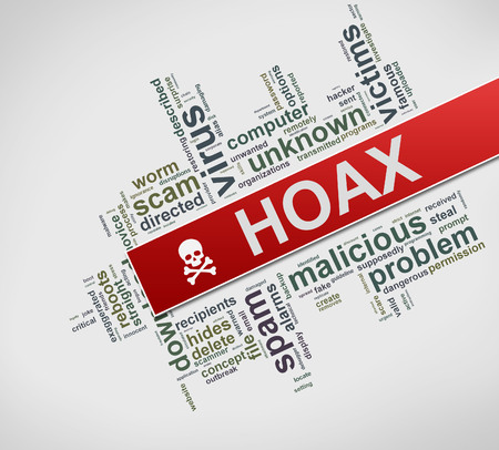 Illustration of word cloud tags of hoax concept Stok Fotoğraf