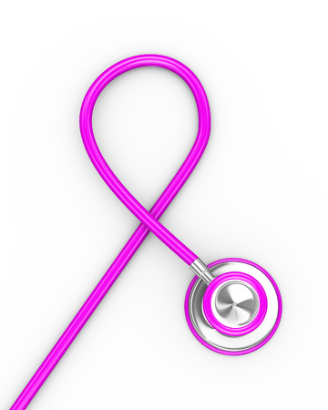 3d rendering of stethoscope forming pink breast cancer ribbon shape