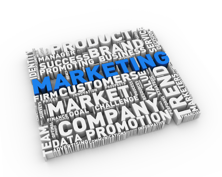 3d render of word cloud tags of marketing