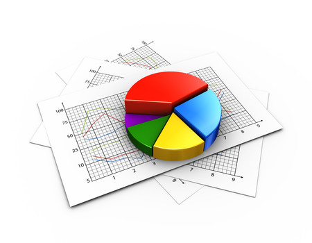 3d rendering of pie chart on statistics graph paper Stok Fotoğraf