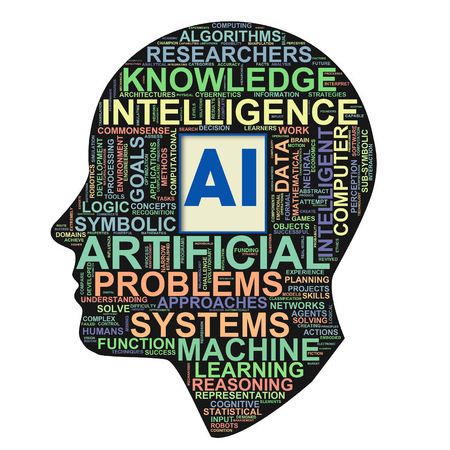 Illustration of human head ai artificial intelligence wordcloud word tags