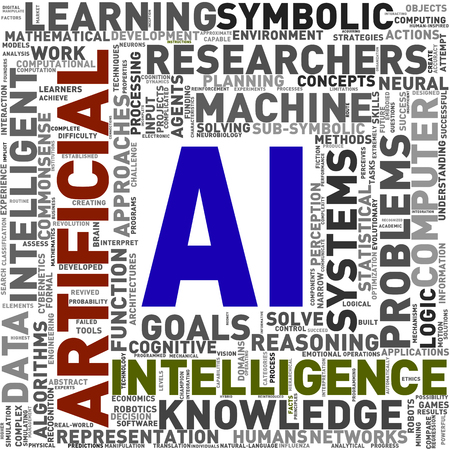 Illustration of artificial intelligence AI wordcloud word tags Stok Fotoğraf