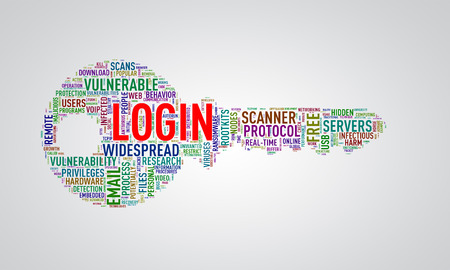 Illustration of key shape wordtags wordcloud of login