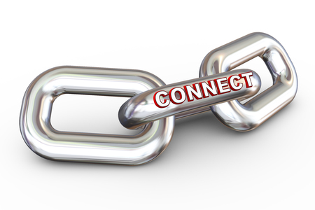 3d render of word connect on connected chain links