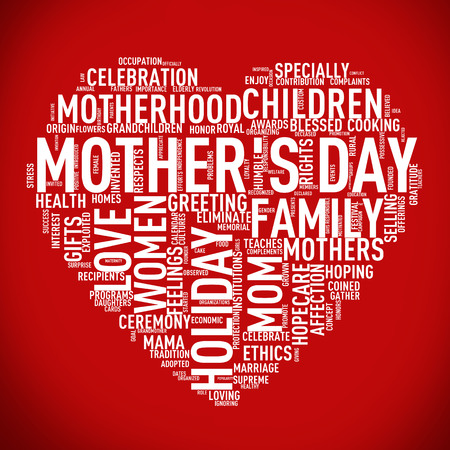 Illustration of Mothers day heart shape word cloud tag