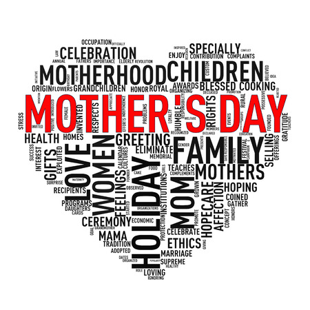 Black white Illustration of Mothers day heart shape word cloud tag Stok Fotoğraf