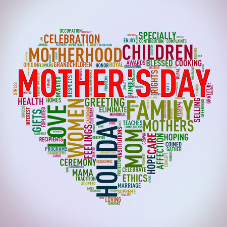 Illustration of Mothers day heart shape word cloud tag design