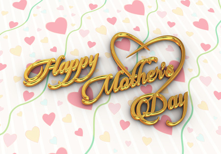 3d render of golden text happy mothers day on heart background Stok Fotoğraf