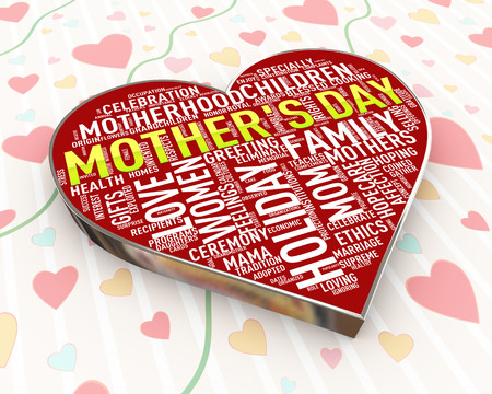 3d render of heart beautiful calligraphic typographic design of mother happy mothers day text Stok Fotoğraf