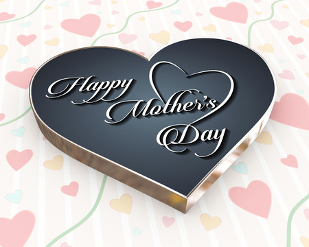 3d render of heart beautiful calligraphic typographic design of text mother happy mothers day