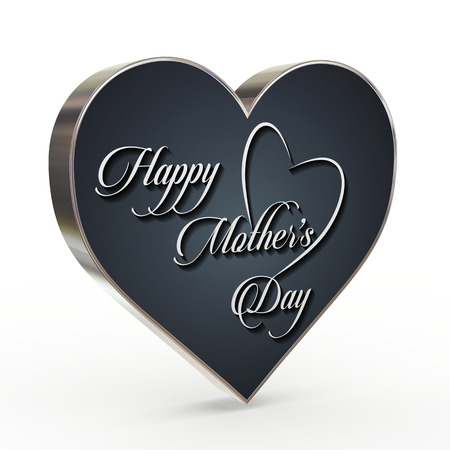 3d render of heart calligraphic typographic design of mother happy mothers day Stok Fotoğraf