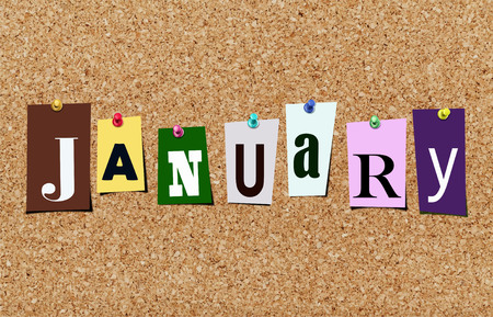 Illustration of word January in cut out magazine letters pinned to a cork noticeboard Stok Fotoğraf