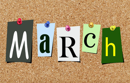 Illustration of word march in cut out magazine letters pinned to a cork noticeboard Stok Fotoğraf