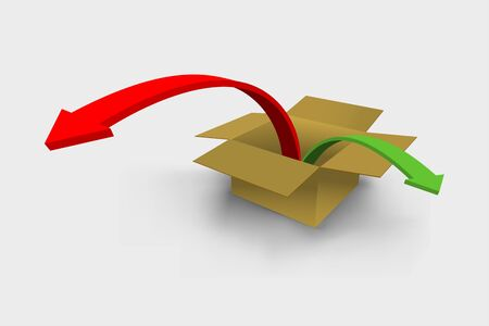 Vector 3d render of colorful arrows jumping outside from box
