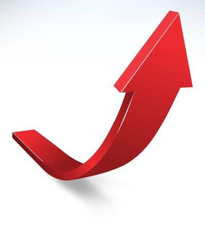 Vector 3d design rendering of upward moving bending curve red big arrow Vektoros illusztráció