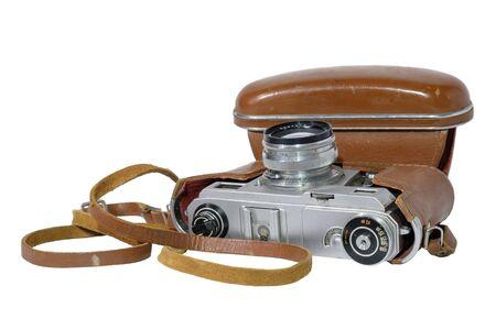 Old camera on white background. isolated