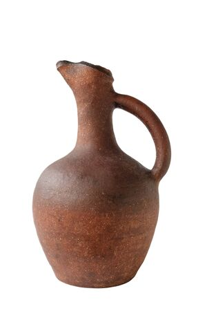 Georgian wine old clay jug on white background, isolated