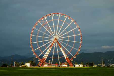 red and white ferris wheel on the field