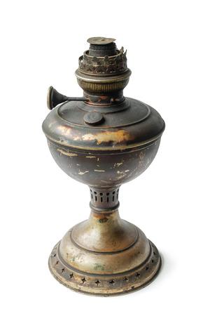 Old kerosene lamp on white background, isolated